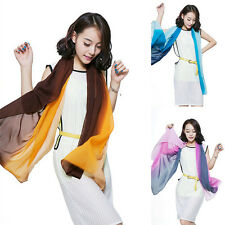 2017 New Women Gradient Dip Dye Color Silk Chiffon Scarf Long Wrap Shawl Scarves