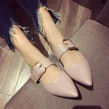 Women Fashion Pointy Toe Metallic Buckle Strap Oxford Flats Work Shoes Comfy 5-9