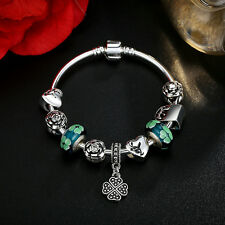 DIY European Silver Clear Crystal & Glass Bead LAMPWORK BEADS Charm Bracelet