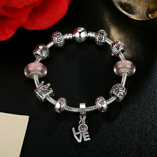 DIY European 925 Silver Love Heart Pink Glass Bead & Crystal Charm Bracelet