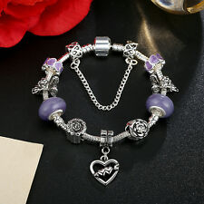 DIY European Love Heart Purple Glass Bead & Crystal Charm Bracelet w Safe Chain
