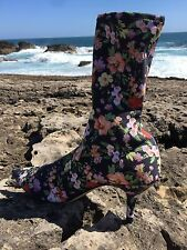 ZARA NEW SS17 FLORAL FABRIC HIGH HEEL ANKLE BOOTS 1113/201