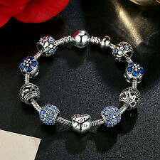 Fashion Jewelry Silver Charm Bracelet With LOVE STORY Blue European Charms