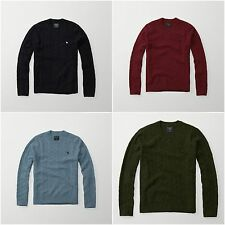 NWT Abercrombie & Fitch By Hollister Mens Cable Knit Crew Sweater Wool S M L XL