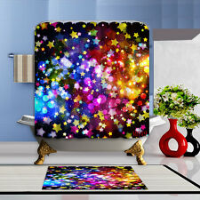 Colorful patterns Shower Curtain Polyester Waterproof Bathroom Bath Home & Hooks