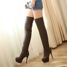 Sexy Lady fashion women over knee high boots leg boots cosplay heels shoe US4-11