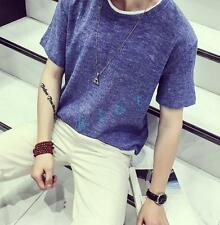Summer Mens Casual Crewneck Short Sleeve Tops cotton Linen Loose T-Shirt Fashion