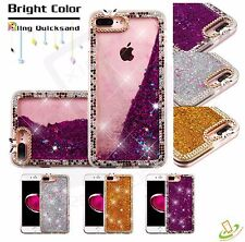 Apple iPhone 7 /7 Plus Bling HYBRID Diamond Liquid Glitter Rubber TPU Case Cover