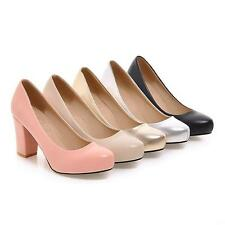 Womens Round Toe Slip On Office lady Block Heels Dress Shoes@Plus Size#colour