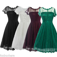 50s Vintage Style Retro Cocktail Evening Party Swing Pinup Lace Dance Tea Dress
