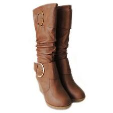 NEW WOMEN WEDGE SLOUCH BUCKLE MID CALF BOOTS KNEE HIGH ROUND TOE  SHOES/ TAN