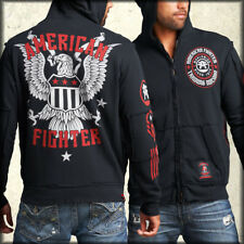 American Fighter Division American Eagle Flag Military Mens Zip Hoodie Black NEW