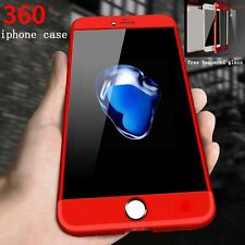360° Full Body Hybrid Hard Case Cover + Tempered Glass For iPhone 6 6S 7 7+ Plus