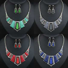 Fashion Geometry Pendant Choker Chunky Statement Bib Chain Necklace Earring Set