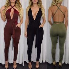 Women Fashion Pocket Rompers Jumpsuit 2017 Spring Sexy Cross Playsuit Bodysuit