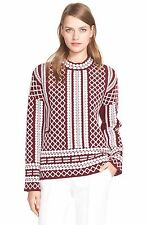 NWT Tory Burch Printed Jacquard Wool Sweater Red Agate Ivory $395 - XL