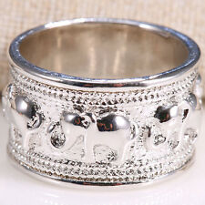 Fashion Jewelry Women 925 Silver Care Elephant Printing Silver Ring Size 6-10