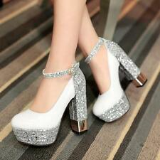 Womens Patent Leather Strap Sequin Nightclub shiny High Heel Party Shoes Pumps