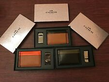 Coach Men's Card & ID Wallet W Money Clip & Gift Box Pick From Colors Listed NWT