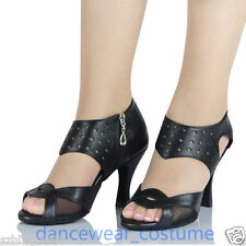 Ladies Black Leather Ballroom Latin Tango Modern Salsa Dance Shoes Heeled US 5-9