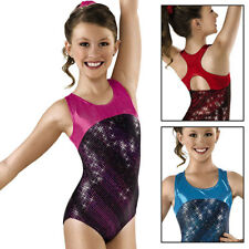 NEW Red Mystique Foil Dot Sparkle Racer Back Gymnastics Leotard Adult Medium AM