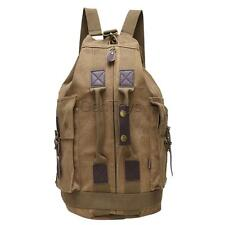 Canvas Leather Assult Pack Military Army Combat Patrol Rucksack Outdoor Backpack