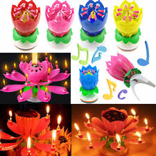 Cake Topper Double-deck Blossom Musical Lotus Magic Flower Party Birthday Candle