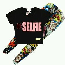 Girls Top Kids #Selfie Print Designer Crop Top & Fashion Legging Set 7-13 Years