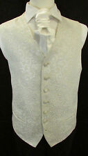 WC013 Mens Ivory Silver Wedding Evening Formal Suit Waistcoat - Matching Cravat