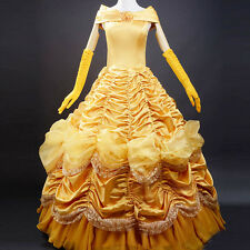 Hot Adult Princess Belle Costume Dress Beauty and The Beast Cosplay Halloween