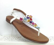 TAMARIS WHITE LEATHER FLAT GLADIATOR SANDALS MULTI COLOUR SMALL LEATHER FLOWERS