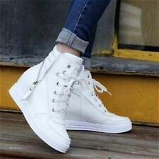 Womens Lace Up Zip Oxfords Hidden Wedge Sneakers Hi Top Tennis Shoes Boots new