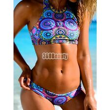 Women Sexy Two Pieces Swimwear Swimsuit Beach Wear Halter Sleeveless Tank B5UT