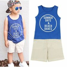 Toddler Kid Baby Boy Sleeveless T-shirt Vest Top & Shorts Sports Clothes Outfits