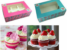 2pk Strong Hold Cupcake Boxes+Inserts Muffins Cakes Gift Wedding Baking 6 Holes