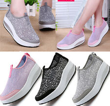 Womens Mesh Walking Sneaker Girls Gym Casual Fitness Wedge Trainer Shoes Size