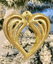 Gold Jewelled Diamonte Christmas Tree Hanging Decorations Bundle Heart Star