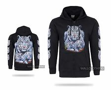 New White Tiger Front & Back Print, Hoody Zip, Zipped Hooded Jacket Unisex