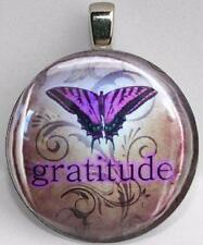 Handmade Interchangeable Magnetic Gratitude Butterfly #8 Pendant Necklace