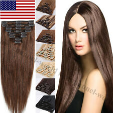 "100% Real Human Hair Full Head Clip in Remy Hair Extensions 16""-24"" Blonde B158"