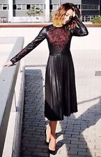 ZARA Black Embroidered Faux Leather Midi Dress With Pleated Skirt XS S M L BNWT