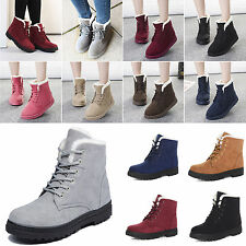 Hot Women's Winter Warm Faux Suede Snow Shoes Flat Fuzzy Round Toe Ankle Booties