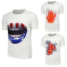 Mens 3D Print Short Sleeve T-Shirts Slim Fit Tee Cound Neck Casual Top Plus Size