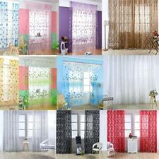 Flower Floral Sheer Voile Door Window Curtain Drape Panel Scarf Room Divider New