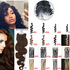 """7A 20"""" body wavy/curly Loop Micro Rings Beads 100% remy human hair extensions"""