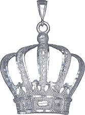 Sterling Silver Crown Charm Pendant Necklace Diamond Cut Finish with Chain