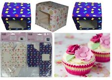 6pk Cupcake Muffin Fairy Cake Boxes with Clear Window Insert Gift Box Blue/White