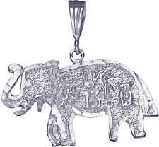 Sterling Silver Lucky Elephant Charm Pendant Diamond Cut Finish with Chain