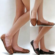 New Women F87 Black Brown Strappy Woven Flat Sandals size 6 to 10