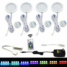 4 RGB LED Under Cabinet Lighting Aluminum Puck Lights with Wireless RF Remote